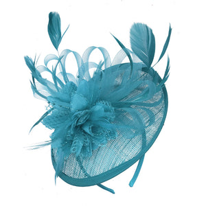 Aqua Blue fascinator on headband sinamay disc saucer rose caprilite UK Online shop