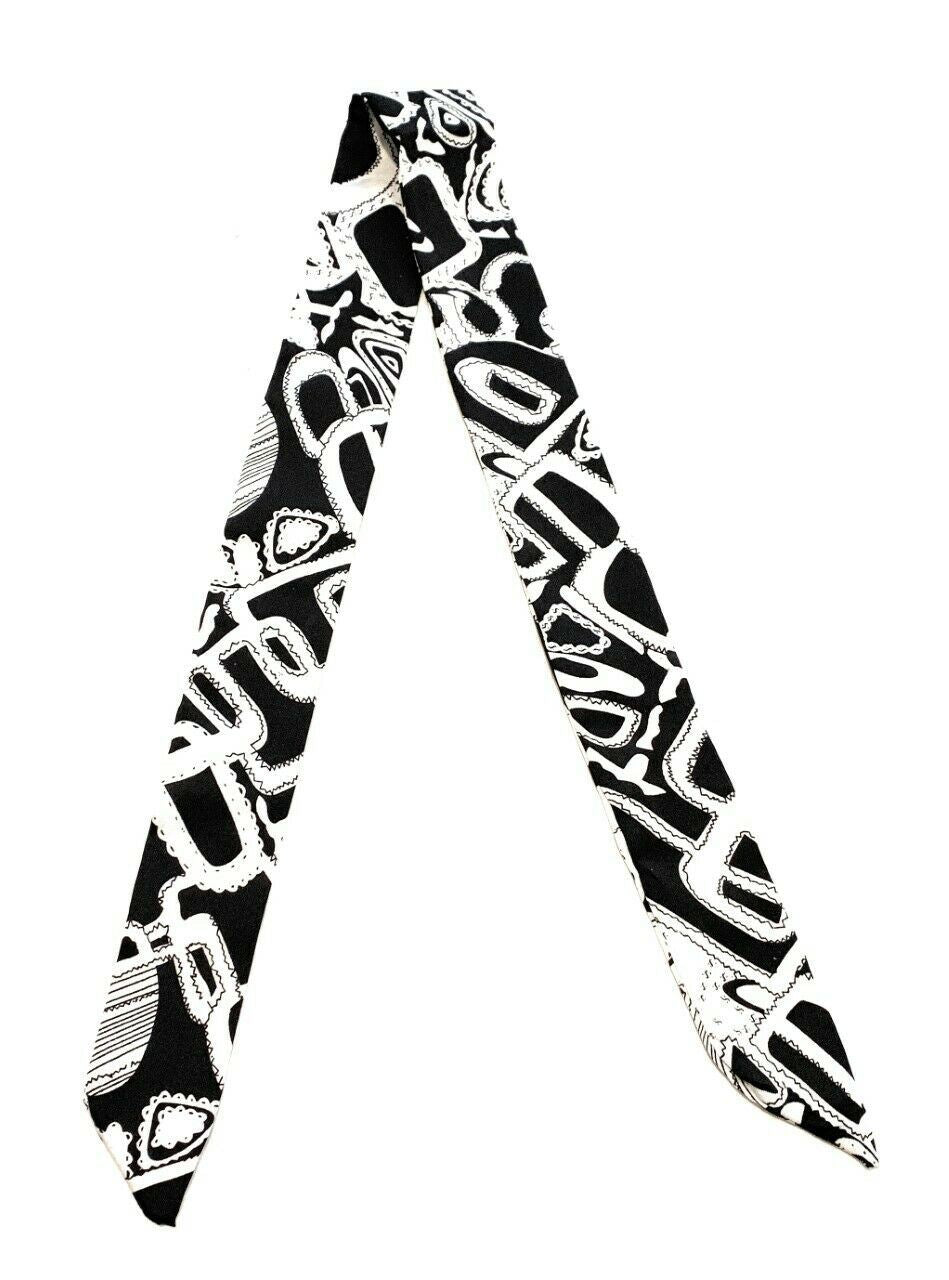 Womens 90cm Long Reversible Skinny Scarf Faux Silk Head Scarves Bag Charm Bow[Black White Graffiti]