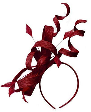 Caprilite Burgundy Swirl Loop Sinamay Headband Fascinator for Women Wedding Ascot Races