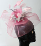 Baby Pink and Silver Pop Hat Fascinator Caprilite