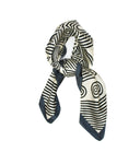 Black White Geometric Scarf Thin Silky Womens Summer Spring