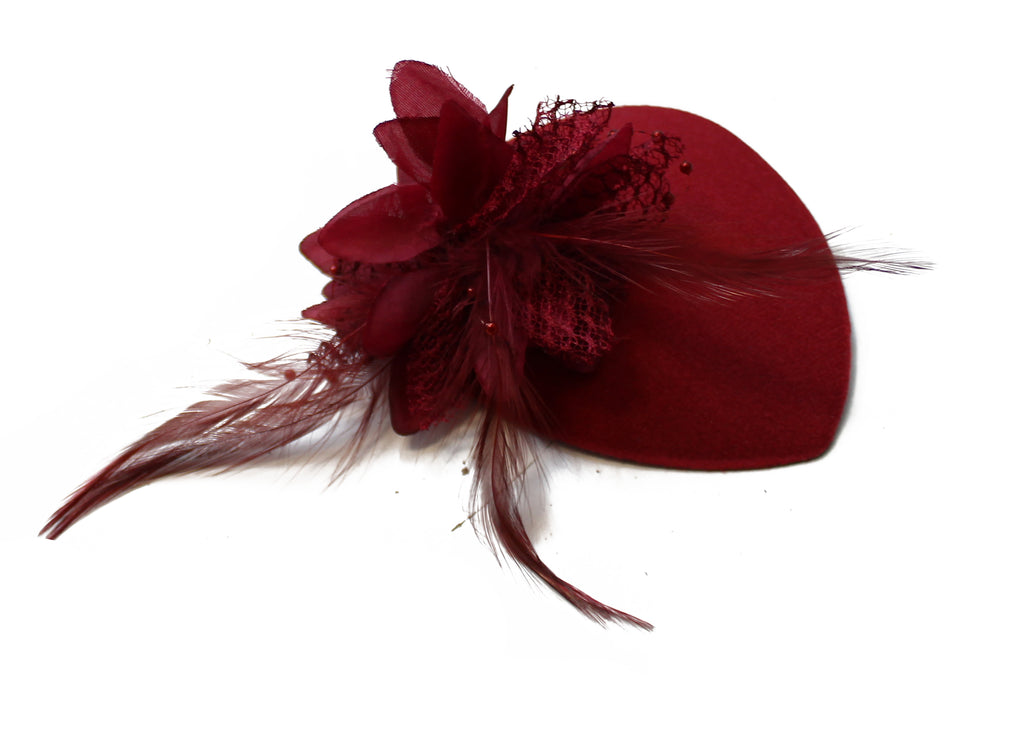 Small Kids Burgundy Fascinator Tear Drop Flower and feathers on clip