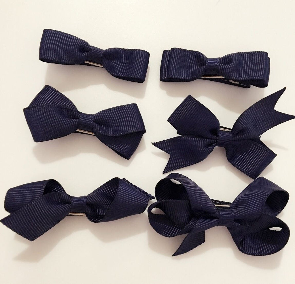 6 PIECE SET Girls Small Hair Bows Clips Grosgrain Ribbon School Uniform Colours[Navy Blue]