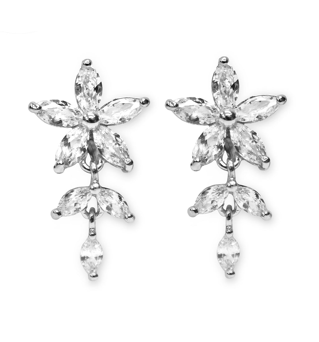 CLIP ON Earrings Silver Flower Leaf Crystal Women's Ladies Bridal