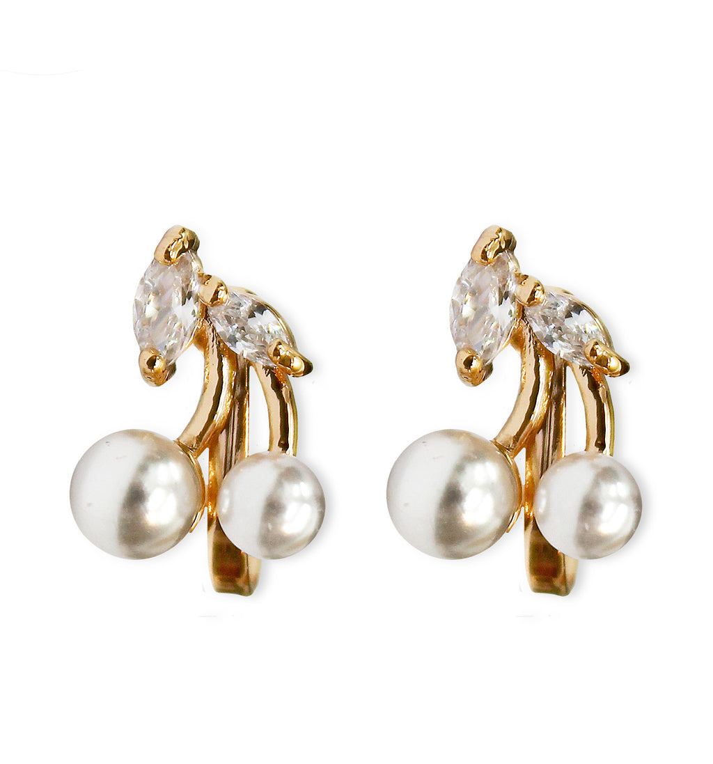 Clip On Women's Crystal Gold Cute Cherry Pearl Earrings Jewelry Ladies Girls