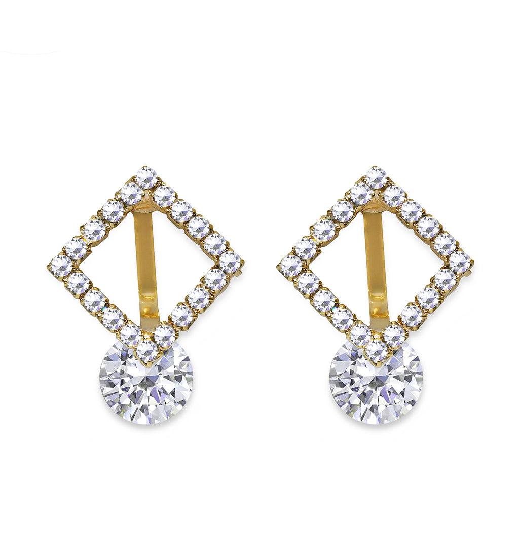 CLIP ON earrings Square Crystal Earrings Gold Crystal Dangle Women's Ladies