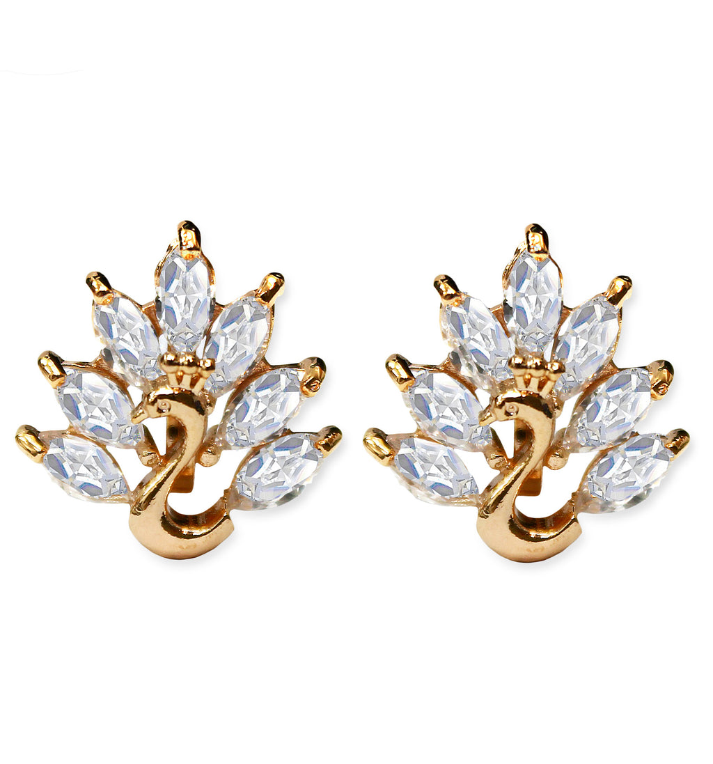 CLIP ON Earrings Swan Crystal Earrings Gold Women's Ladies