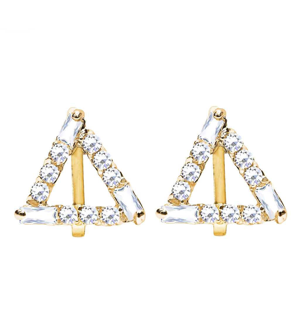 CLIP ON Earrings Women's Crystal Gold Geometric Triangle Earrings Jewelry Ladies Girls