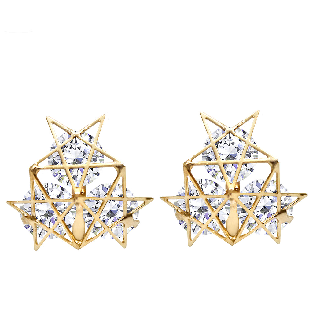 CLIP ON Earrings Triple Crystal Star Women's Gold Ladies Caprilite