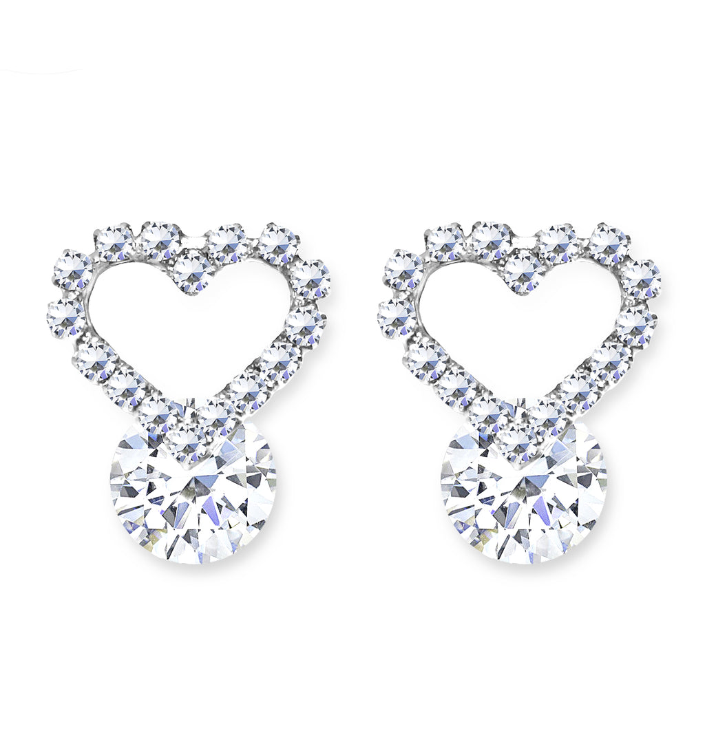 CLIP-ON Earrings Silver Crystal Heart Women's Ladies