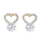 CLIP ON Earrings Gold Crystal Heart Women's Ladies
