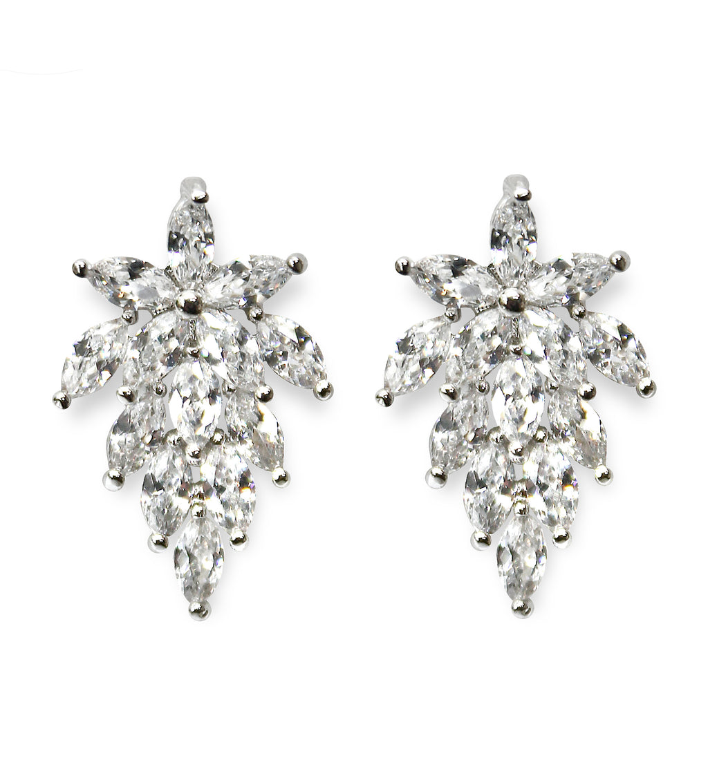 Clip-On Earrings Silver Crystal Women's Wedding Floral Flower Leaf Chandelier Vintage