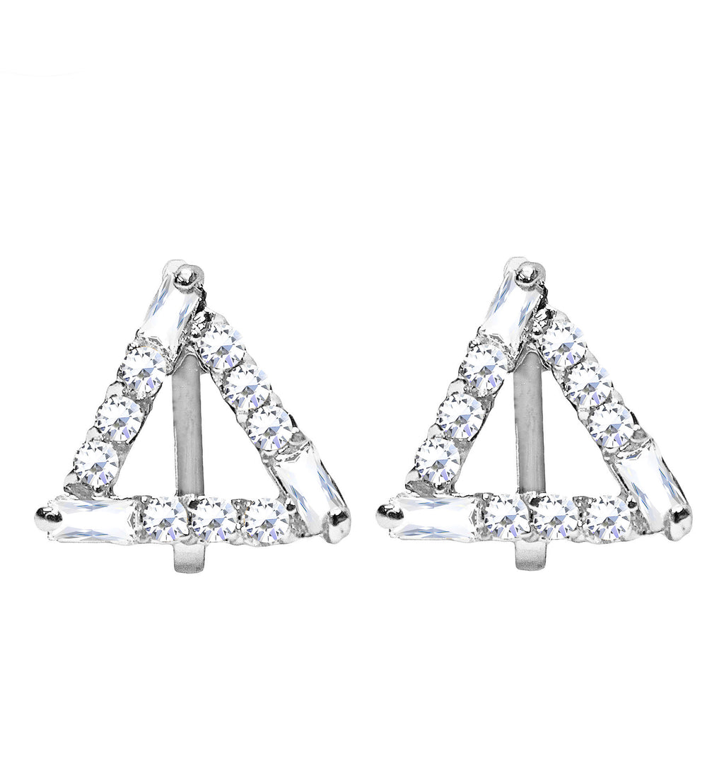CLIP ON Women's Crystal Silver Geometric Triangle Earrings Jewelry Ladies Girls