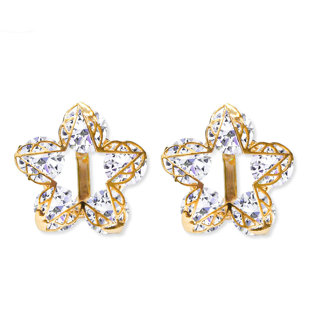 CLIP ON Earrings Women's Gold Flower Star Crystal Earrings Ladies
