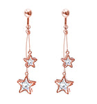 Crystal Drop Dangle Clip On Earrings Tassel Non Pierced Star Rose Gold