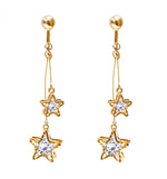 Crystal Drop Dangle Clip On Earrings Tassel Non Pierced Star Gold