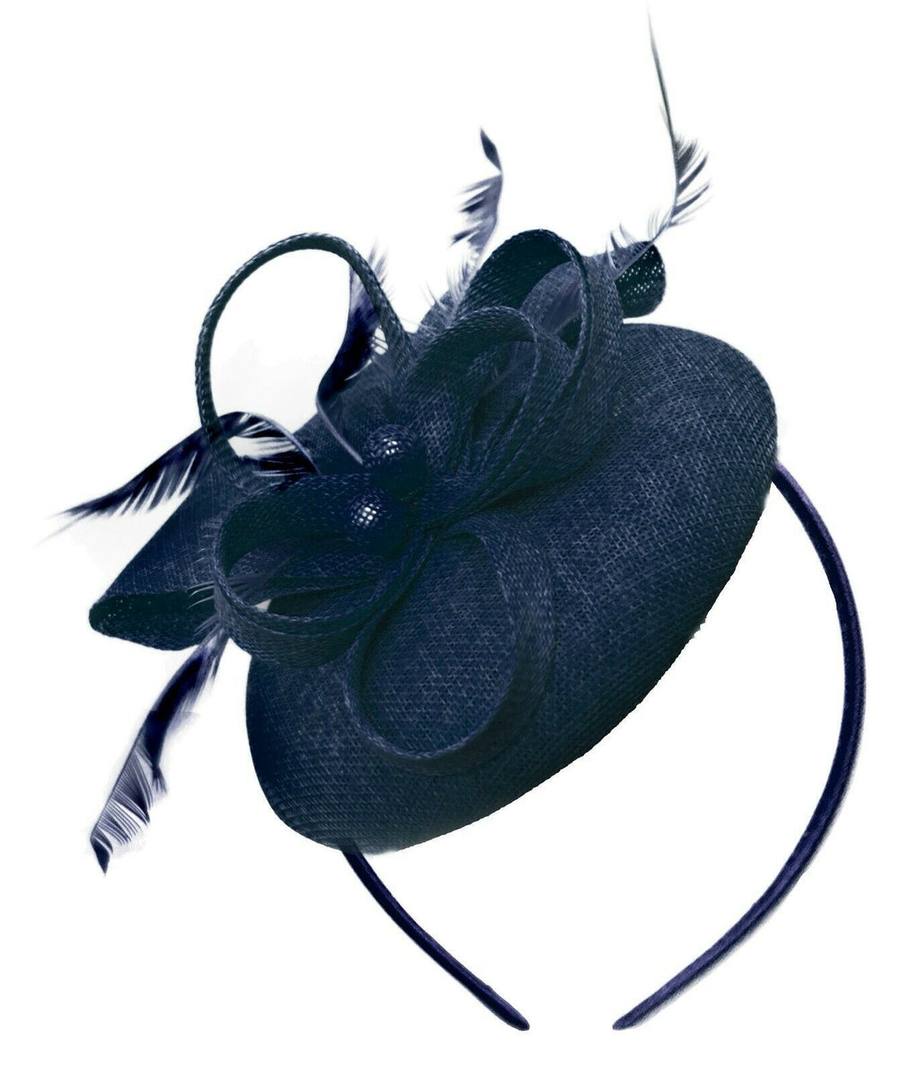 Navy Blue Round Pillbox Bow Sinamay Headband Fascinator Weddings Ascot Hatinator Races