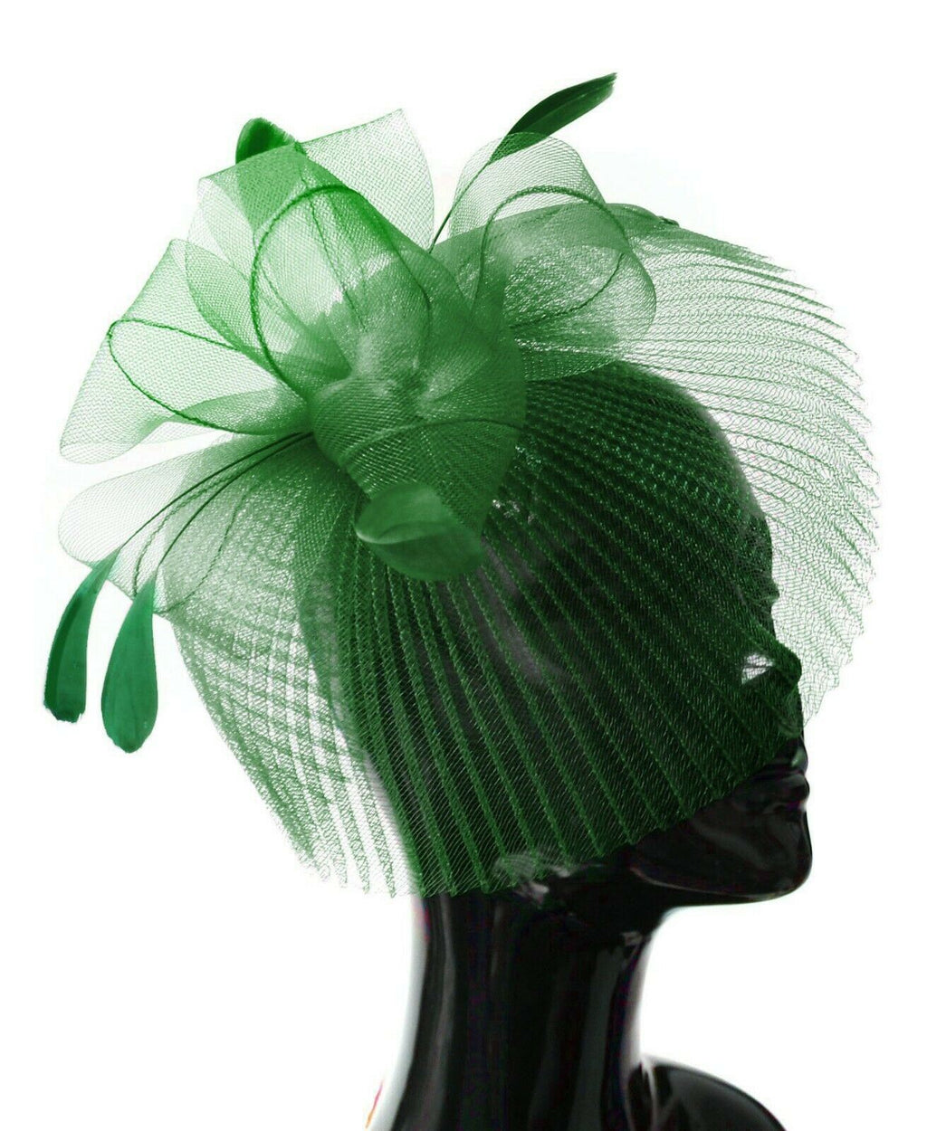 Jade Green Veil Fan Feathers Fascinator on Headband Wedding Races Net Hat Big