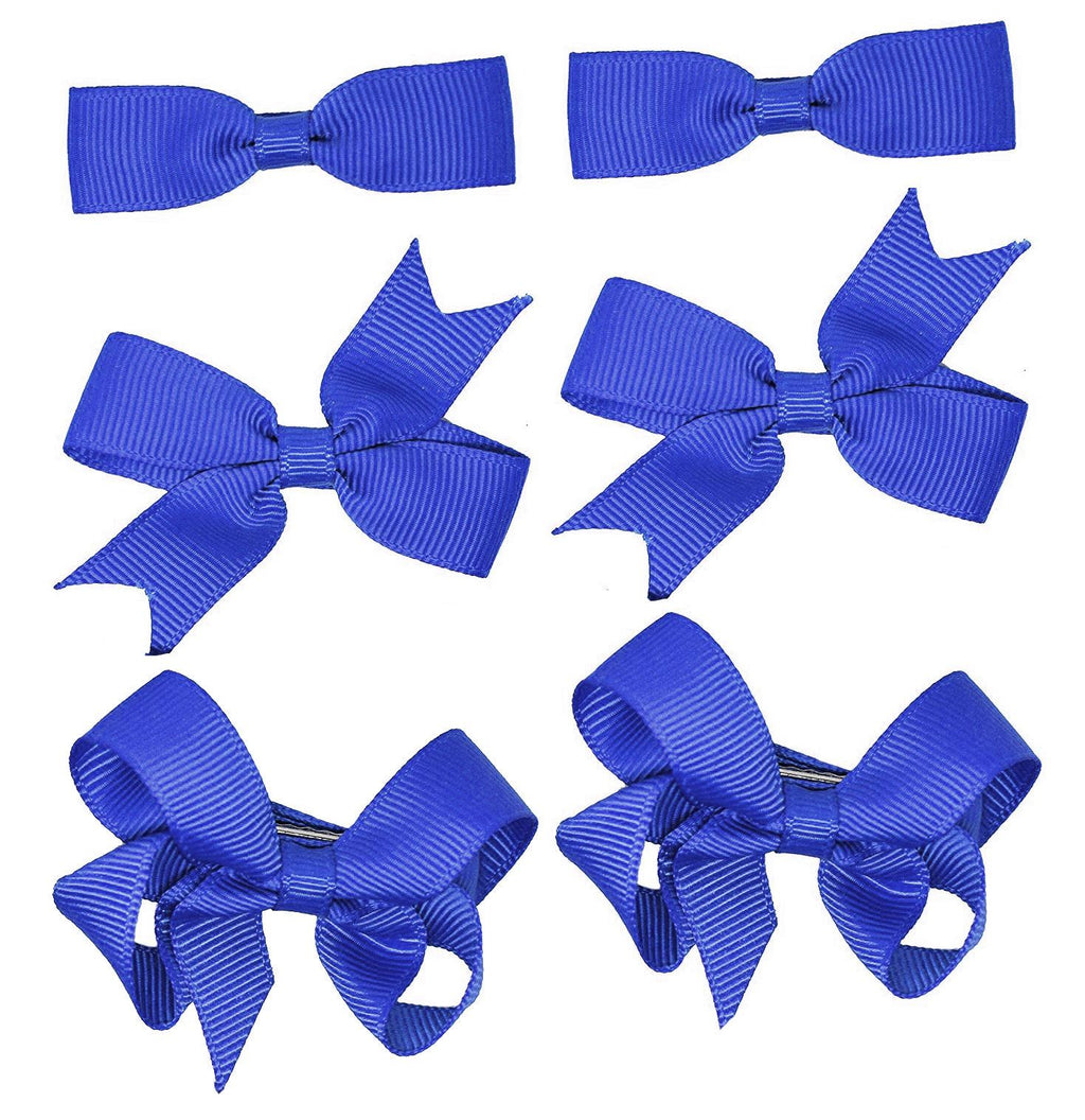 6 PIECE /3 Pairs SET Girls Small Hair Bows Grosgrain Ribbon Clips School Colours[Royal Blue]