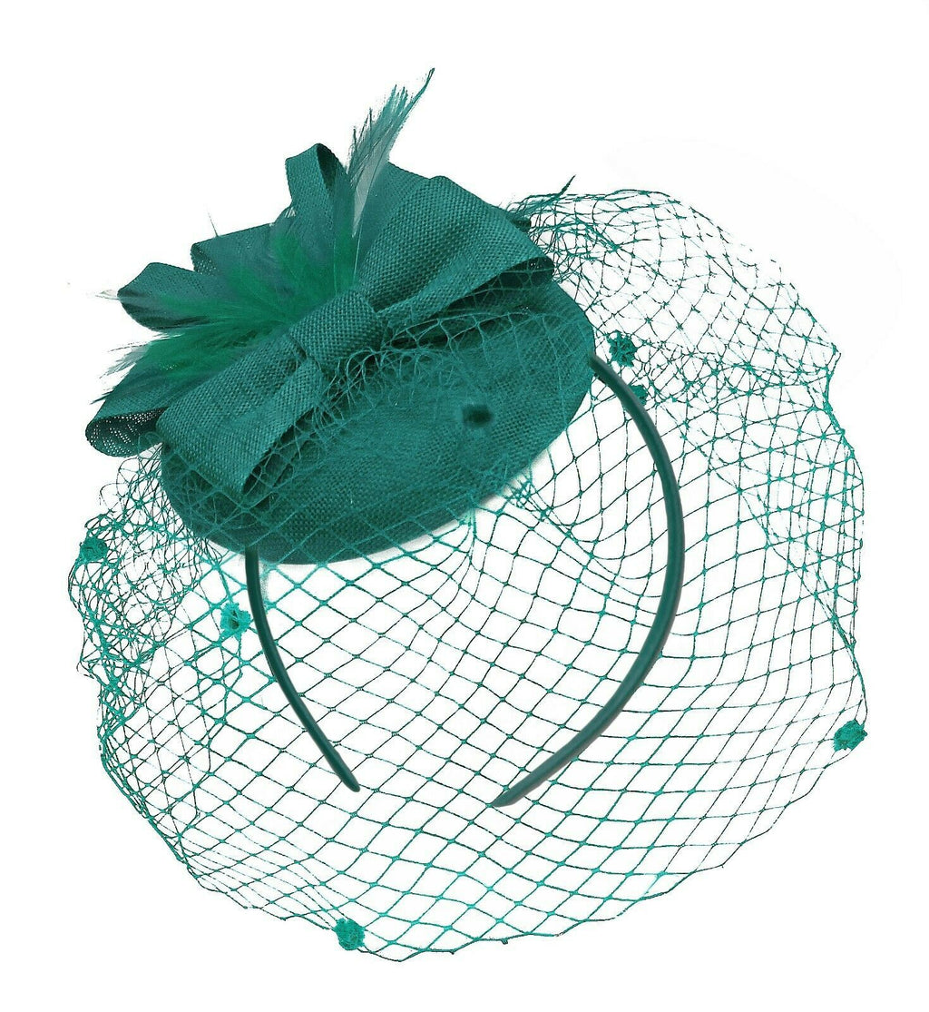 Teal Turquoise Birdcage Veil Pillbox Bow Sinamay Headband Fascinator Weddings Ascot Hatinator Races