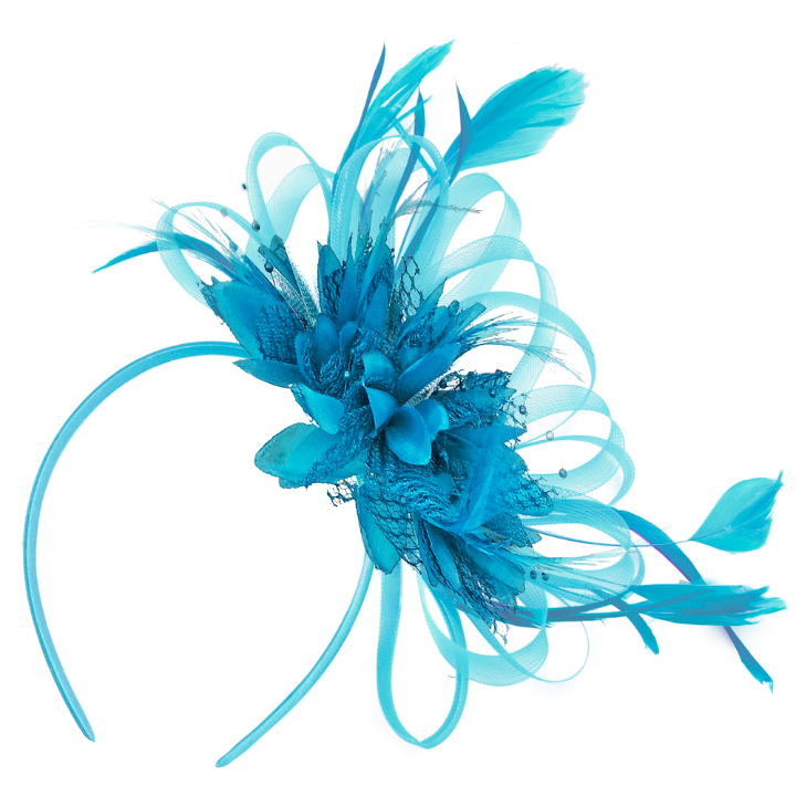 Aqua Blue Fascinator on headband wedding ascot party alice band caprilite online shop uk