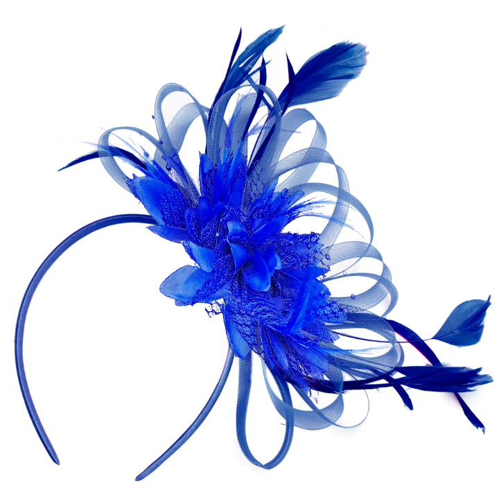 Electric Royal Cobalt Blue Fascinator on Headband for weddings ascot races kentucky derby online shop uk caprilite