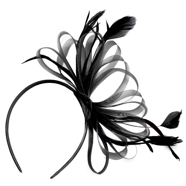 Black Fascinator Headband Classic Hoop with Feathers