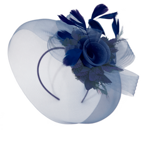 Navy Blue Classic Pop Hat Veil Fascinator on Headband and Clip