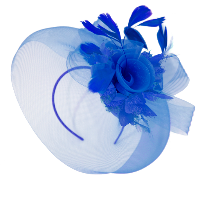 Royal Blue Classic Pop Hat Veil Fascinator on Headband and Clip