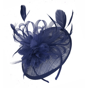 Dark Navy Blue fascinator on headband sinamay disc saucer ribbon hoop caprilite UK Online shop