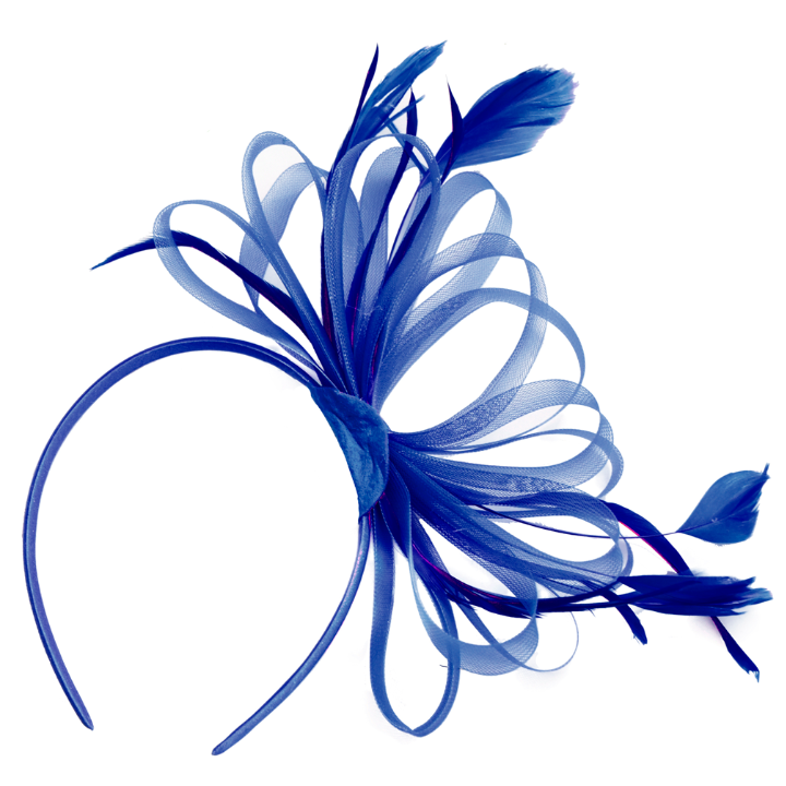 Royal Blue Classic Hoop Fascinator on Headband