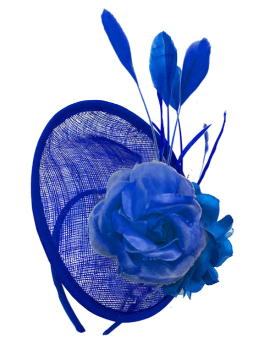 Electric Cobalt Royal Blue fascinator on headband sinamay disc saucer rose caprilite UK Online shop
