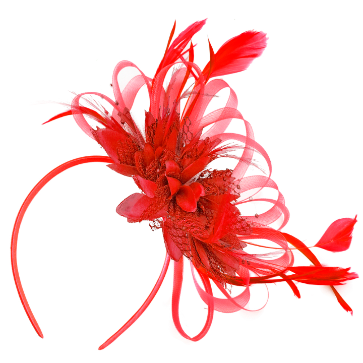 Scarlet Red Fascinator for Weddings UK Caprilite