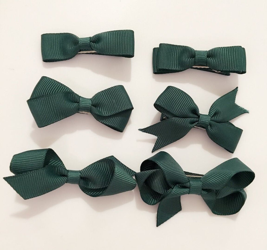 6 PIECE SET Girls Small Hair Bows Clips Grosgrain Ribbon School Uniform Colours[Emerald Green]