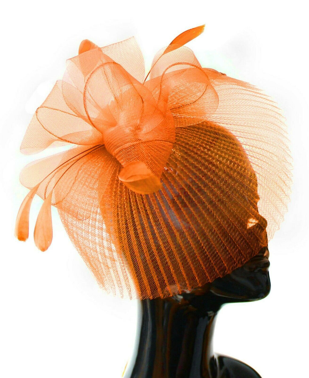 Orange Veil Fan Feathers Fascinator on Headband Wedding Races Net Hat Big