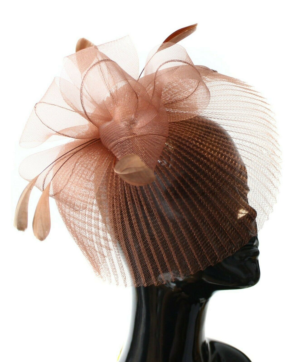 Bronze Veil Fan Feathers Fascinator on Headband Wedding Races Net Hat Big