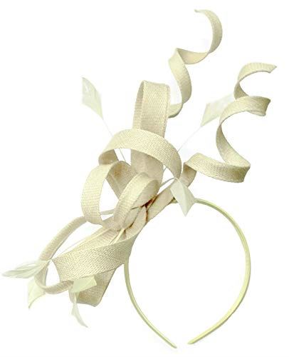 Caprilite Cream Ivory Swirl Loop Sinamay Headband Fascinator for Women Wedding Ascot Races