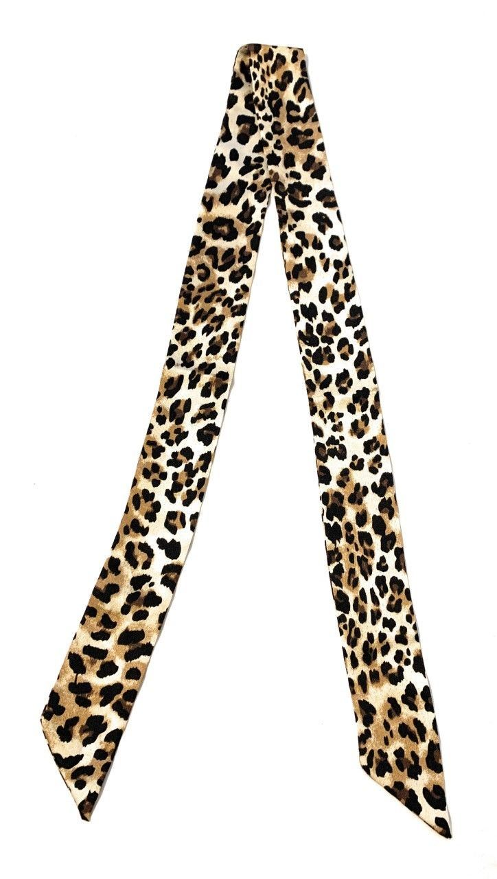 Women Skinny Scarf Satin Faux Silk Long Slim Ribbon Thin Fashion Ladies Scarves[Classic Leopard Print - 120cm Long]
