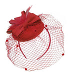 Red Birdcage Veil Pillbox Bow Sinamay Headband Fascinator Weddings Ascot Hatinator Races