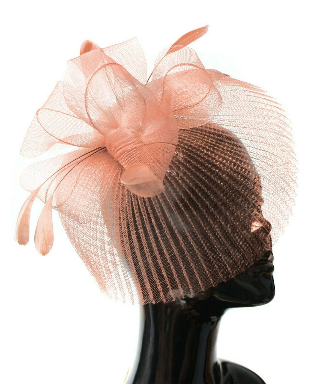 Peach Nude Veil Fan Feathers Fascinator on Headband Wedding Races Net Hat Big
