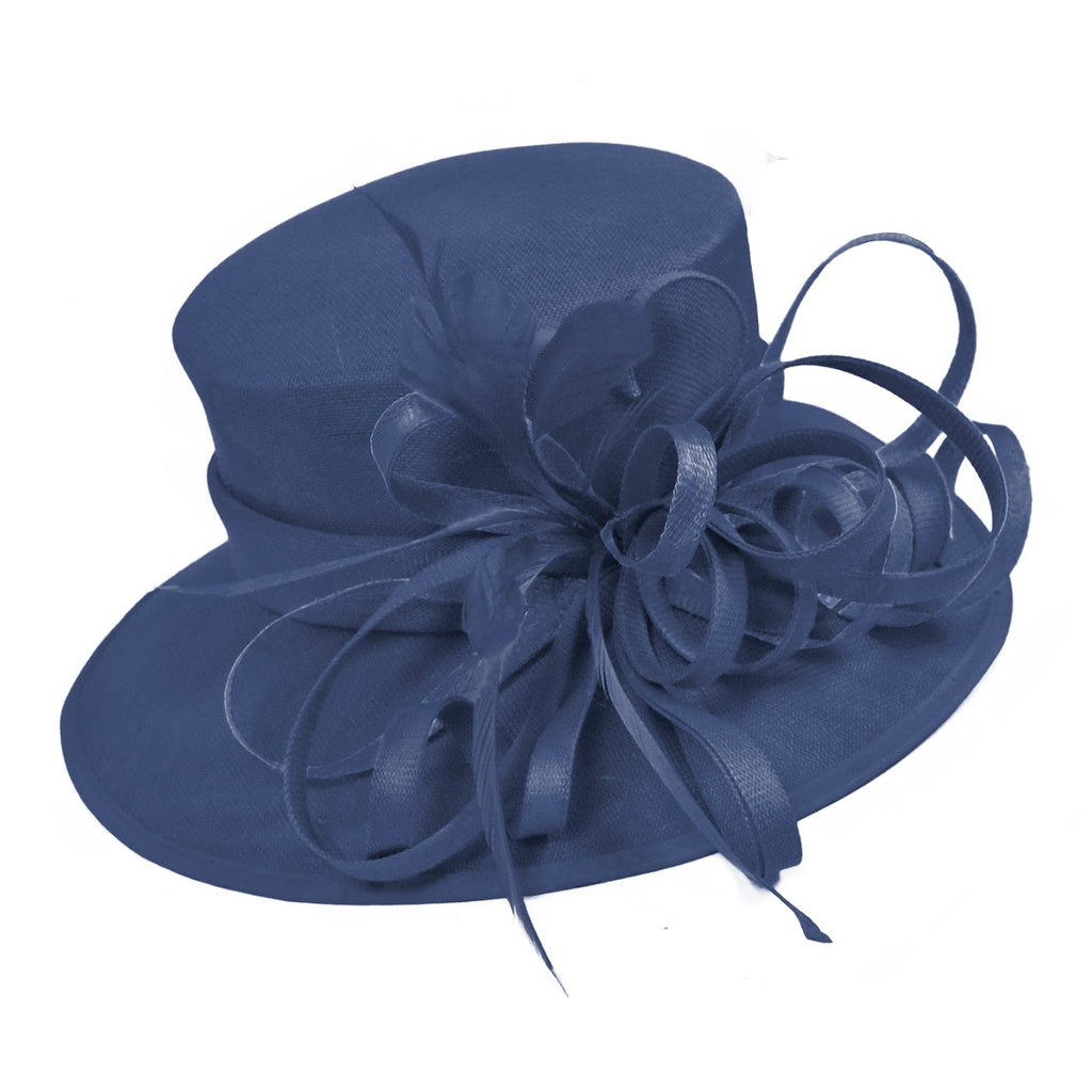 Navy and Navy Large Queen Brim Hat Occasion Hatinator Fascinator Weddings Formal