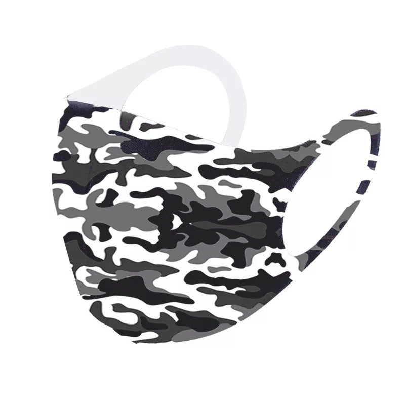 6 Pack Black Grey Camo Army Reusable Fabric Face Masks Covering Washable Adult Size