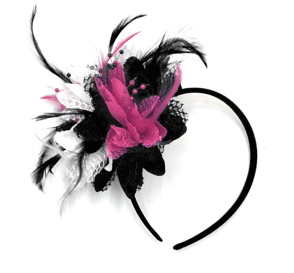 Corsagemix - Black White and Fuchsia Pink Flower Fascinator on Headband