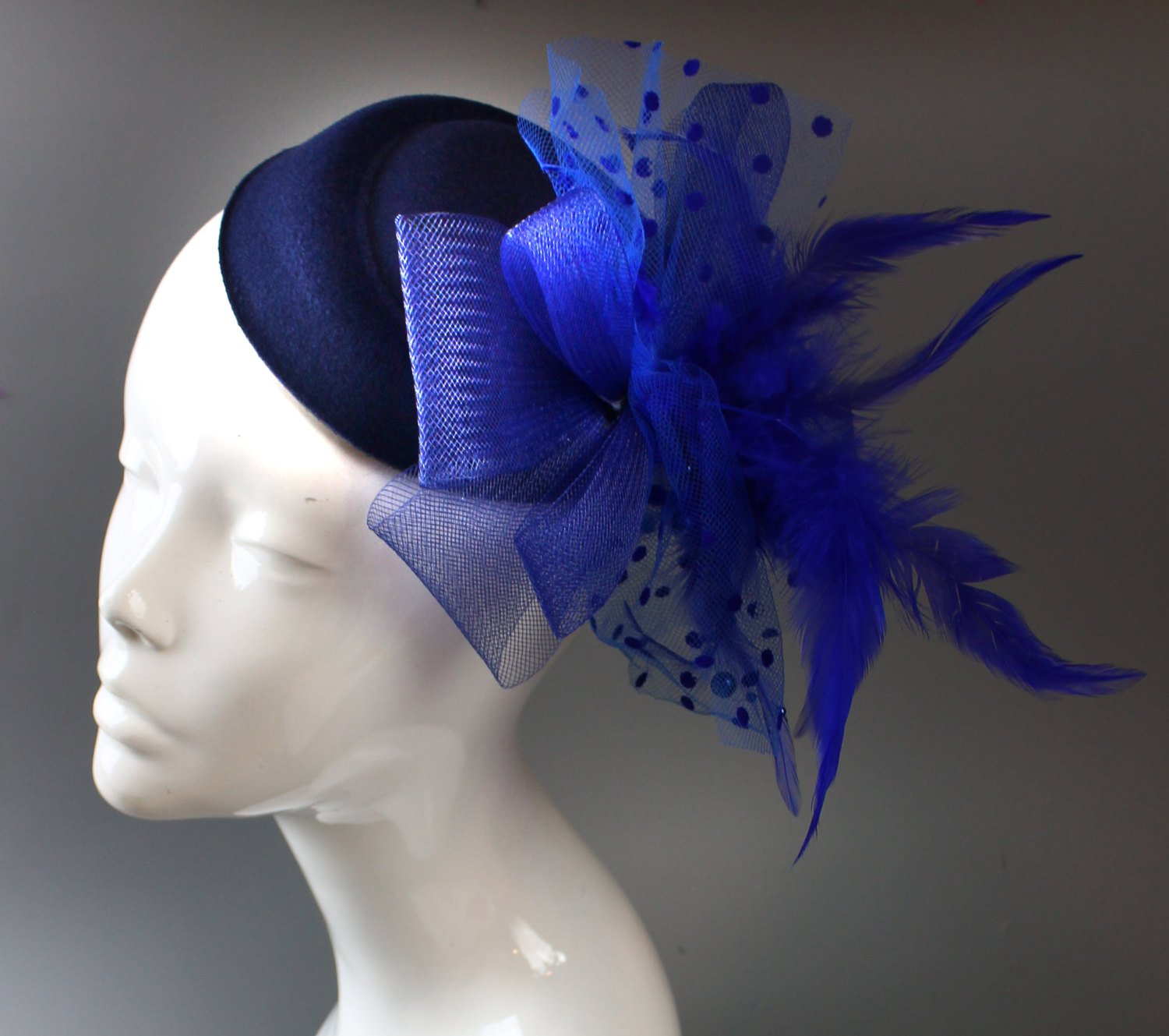 Caprilite Navy Blue & Royal Fascinator Pill Box Veil Hatinator UK Wedding Ascot Races  Clip Felt