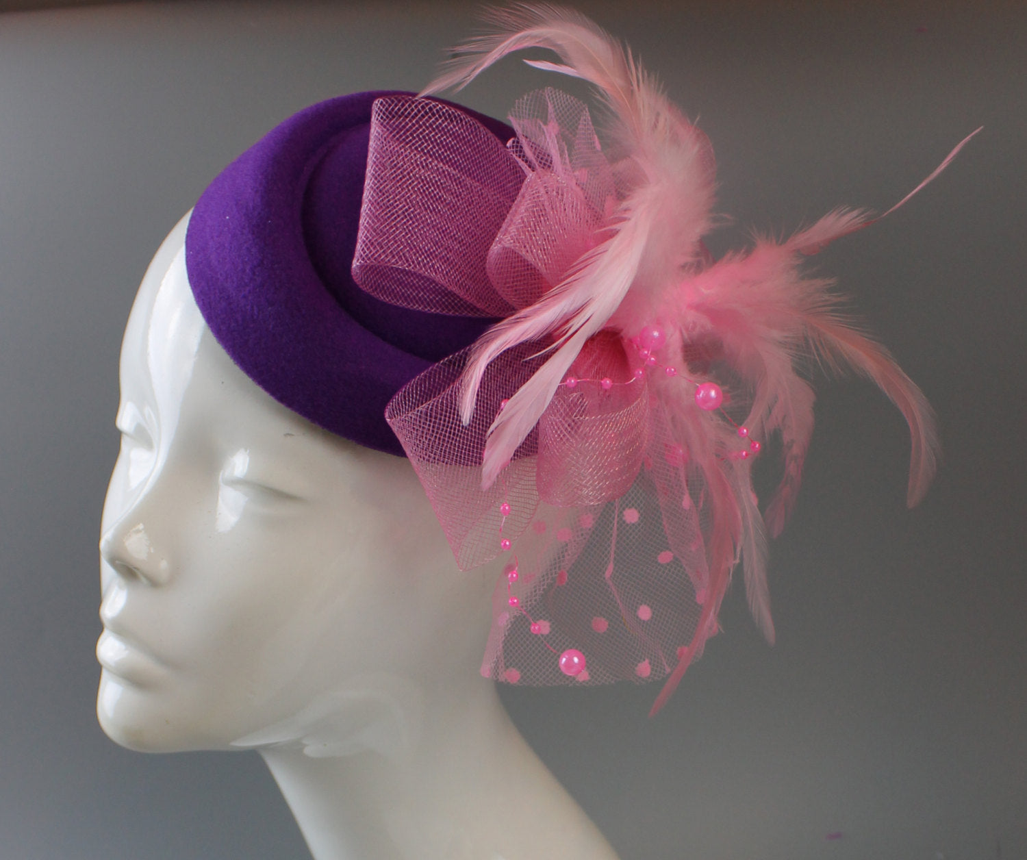 Caprilite Cadbury Purple and Pink Hat Pill Box Veil Hatinator UK Wedding Ascot Races Clip Felt