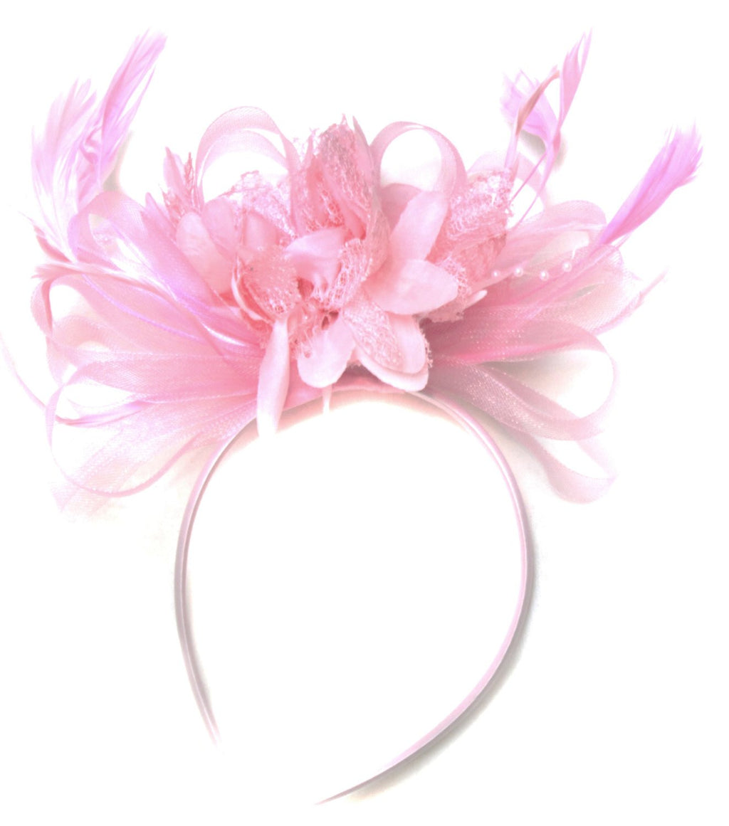 Caprilite Baby Pink Fascinator on Headband AliceBand UK Wedding Ascot Races Loop