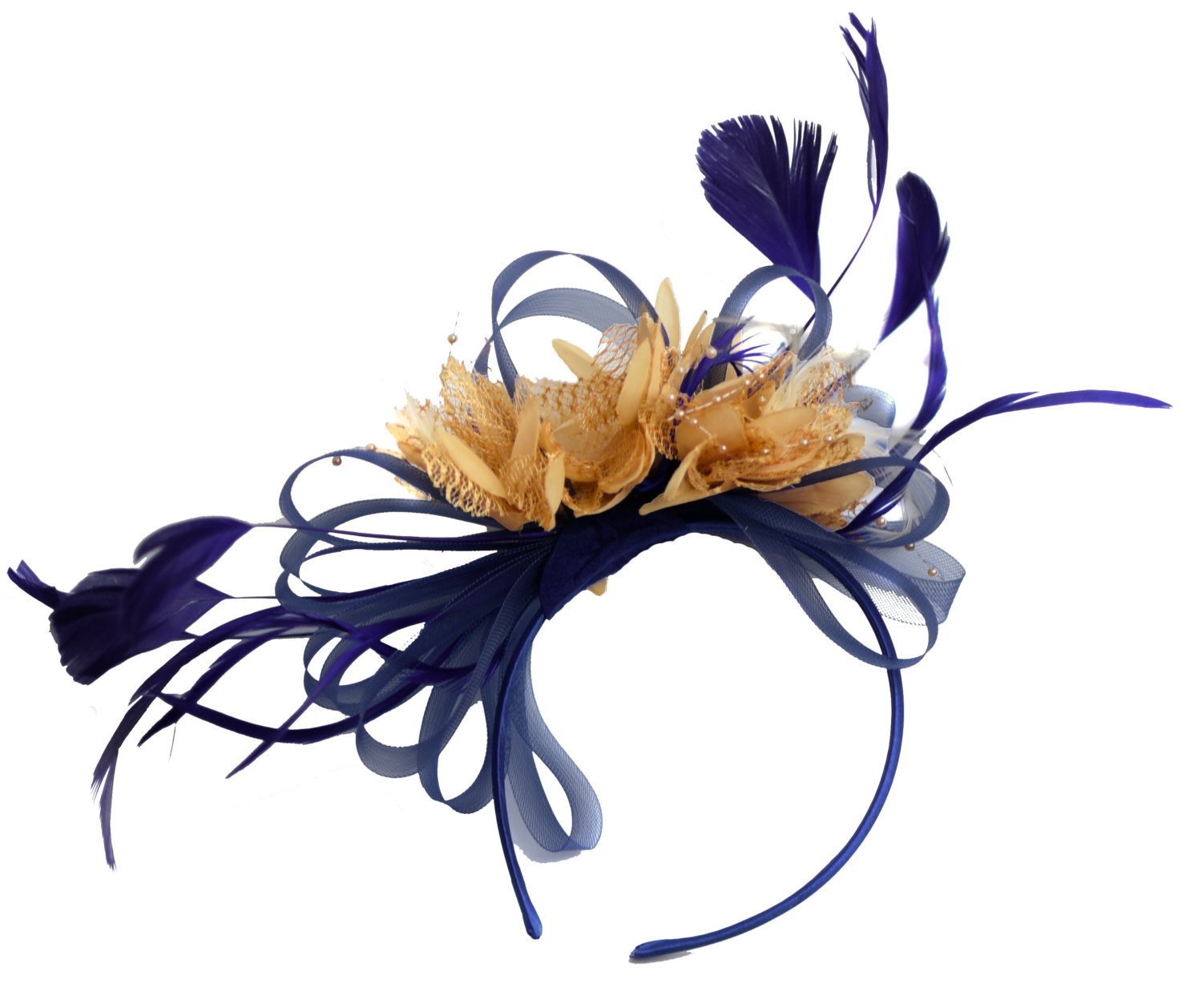 Caprilite Navy and Beige Fascinator on Headband Alice Band UK Wedding Ascot Races Derby