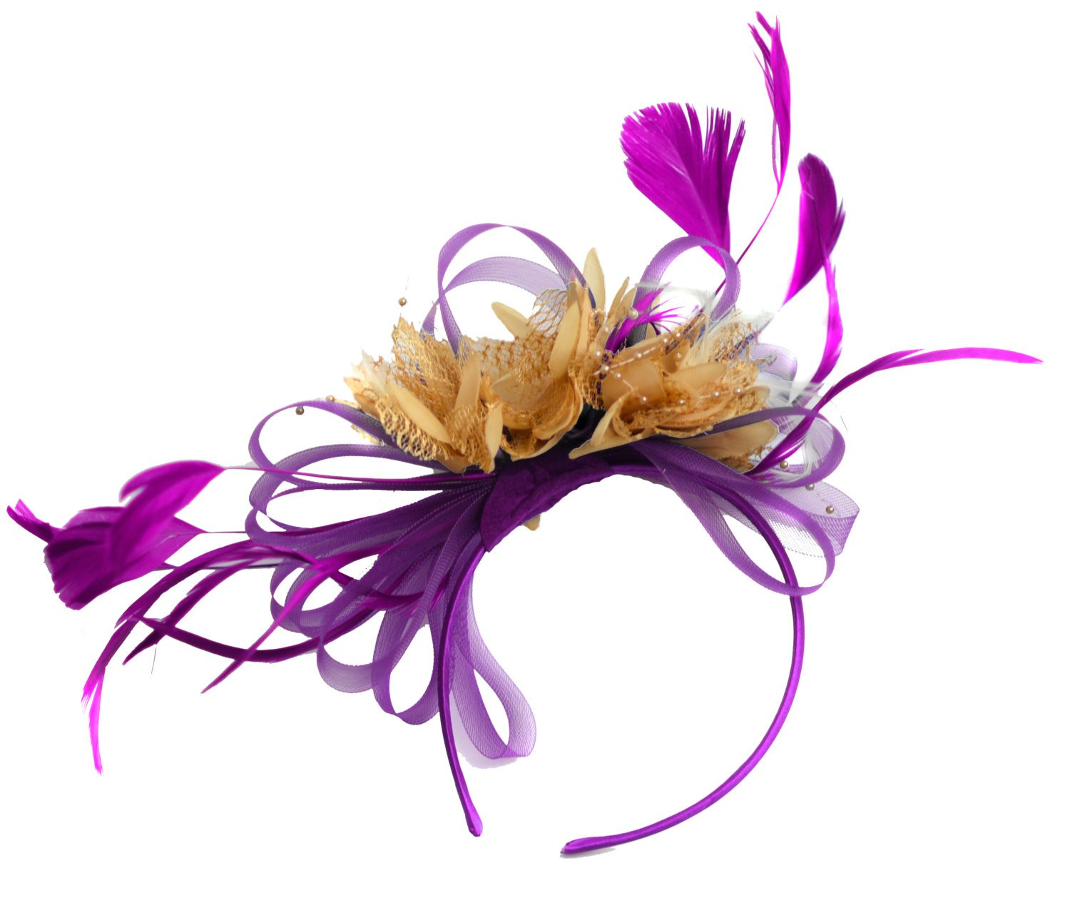 Caprilite Plum and Beige Fascinator on Headband Alice Band UK Wedding Ascot Races Derby