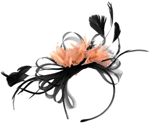 Caprilite Black and Peach Nude Fascinator on Headband Alice Band UK Wedding Ascot Races Derby
