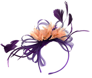 Caprilite Purple and Peach Nude Fascinator on Headband Alice Band UK Wedding Ascot Races Derby